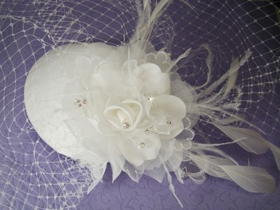 Vintage Bridal Hat w/ Bird Cage Face Veil
