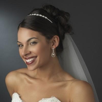 Precious Silver Clear Rhinestone & White Faux Pearl Headband