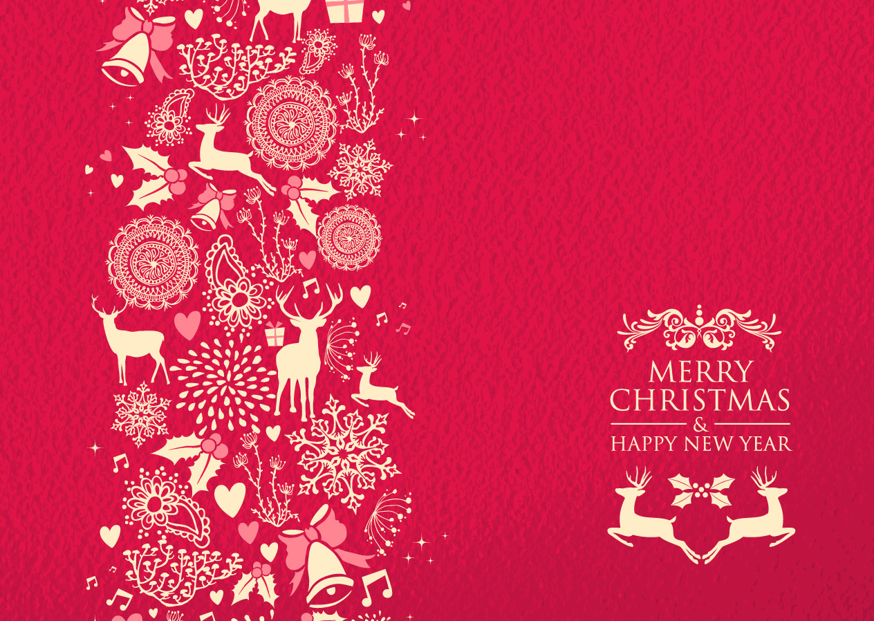 Christmas Card Printing.Red N Gold Theme Christmas Card A6 Size