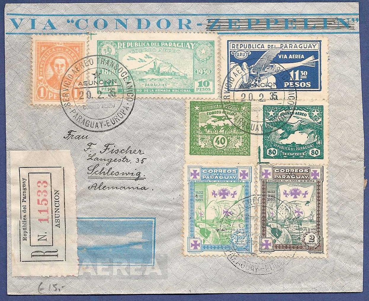 PARAGUAY R air cover 1935 Asuncion to Germany PAR009
