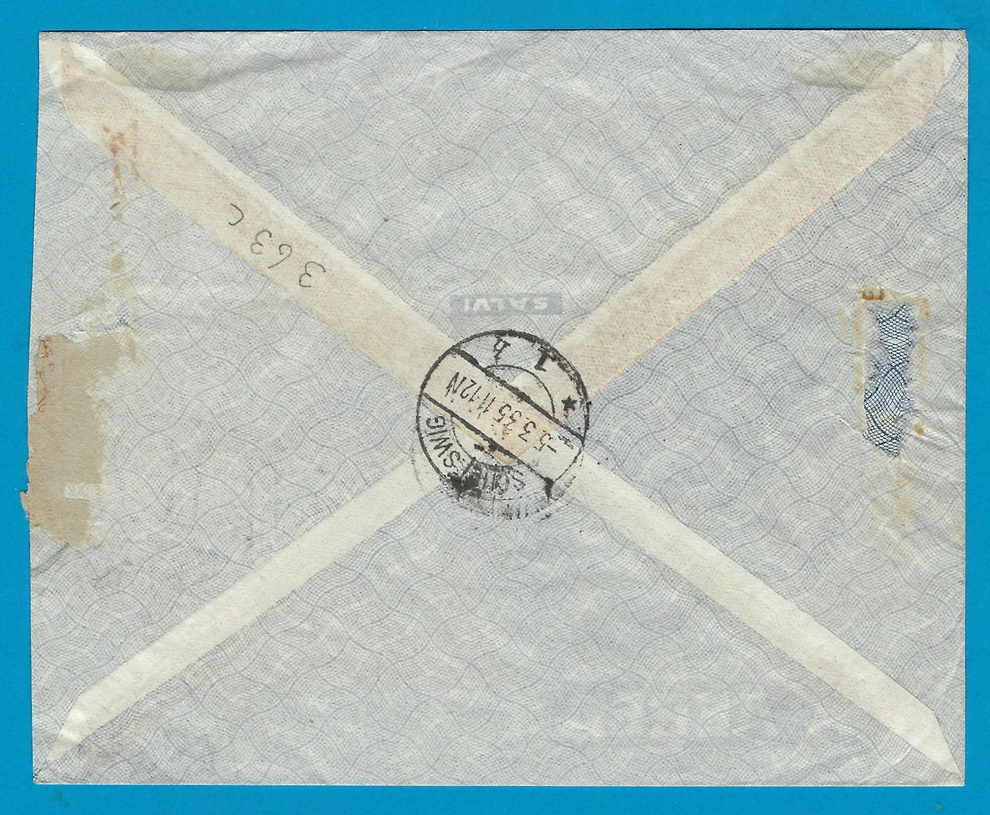 PARAGUAY R air cover 1935 Asuncion to Germany