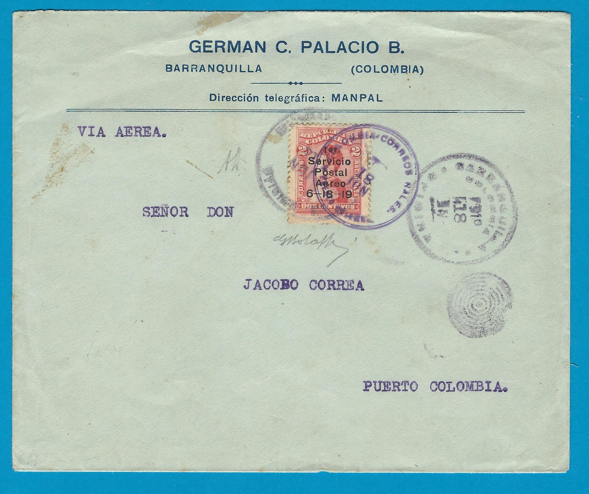 COLOMBIA airmail cover 1919 Barranquilla to Puerto Colombia COL027