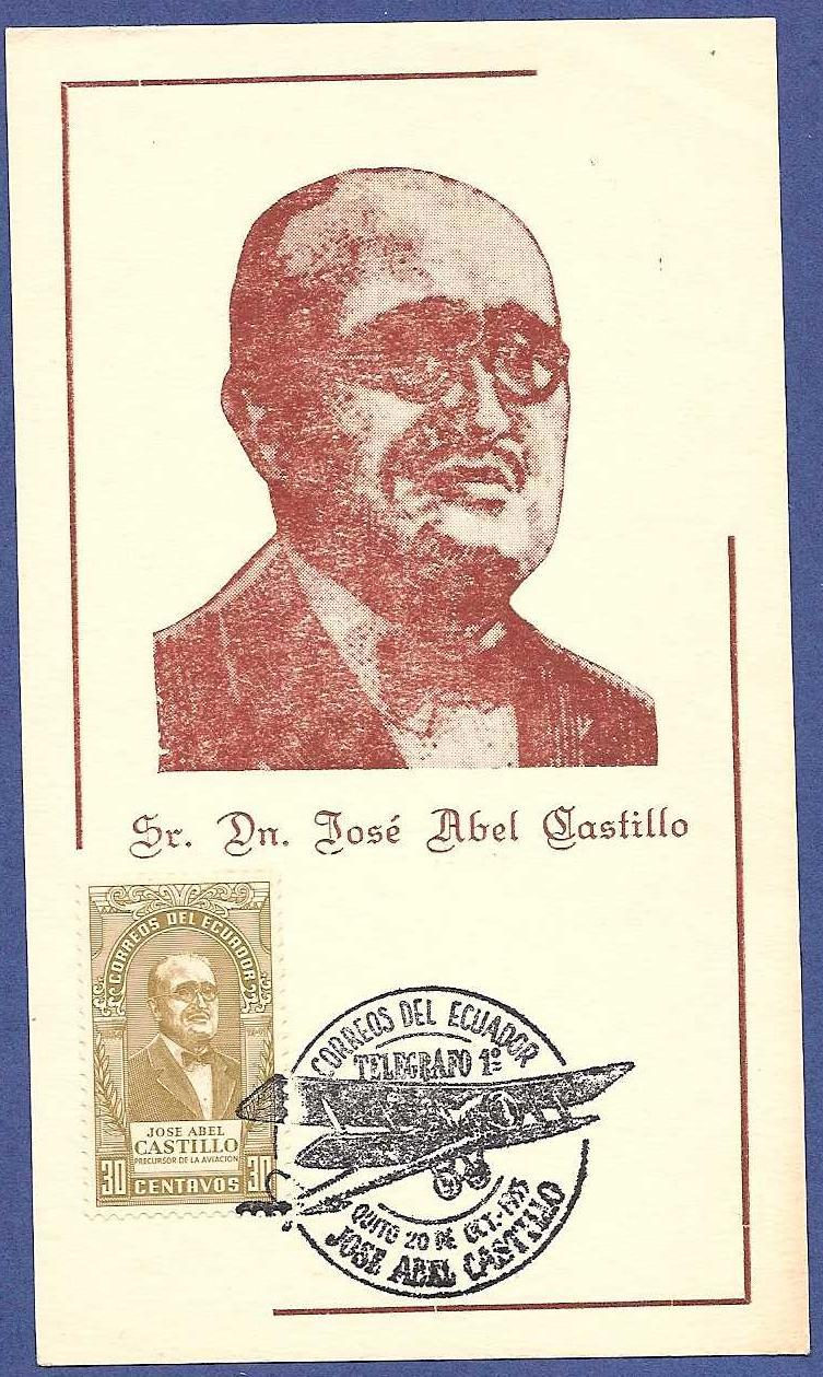 ECUADOR maximum card  1955 Airmail promotor J.A. Castillo ECU010