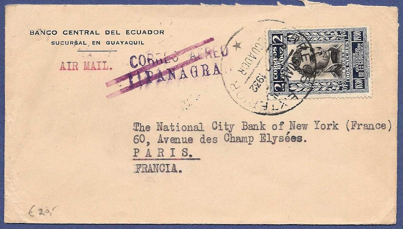 ECUADOR airmail cover 1932 Guayaquil by Panagra to France ECU014