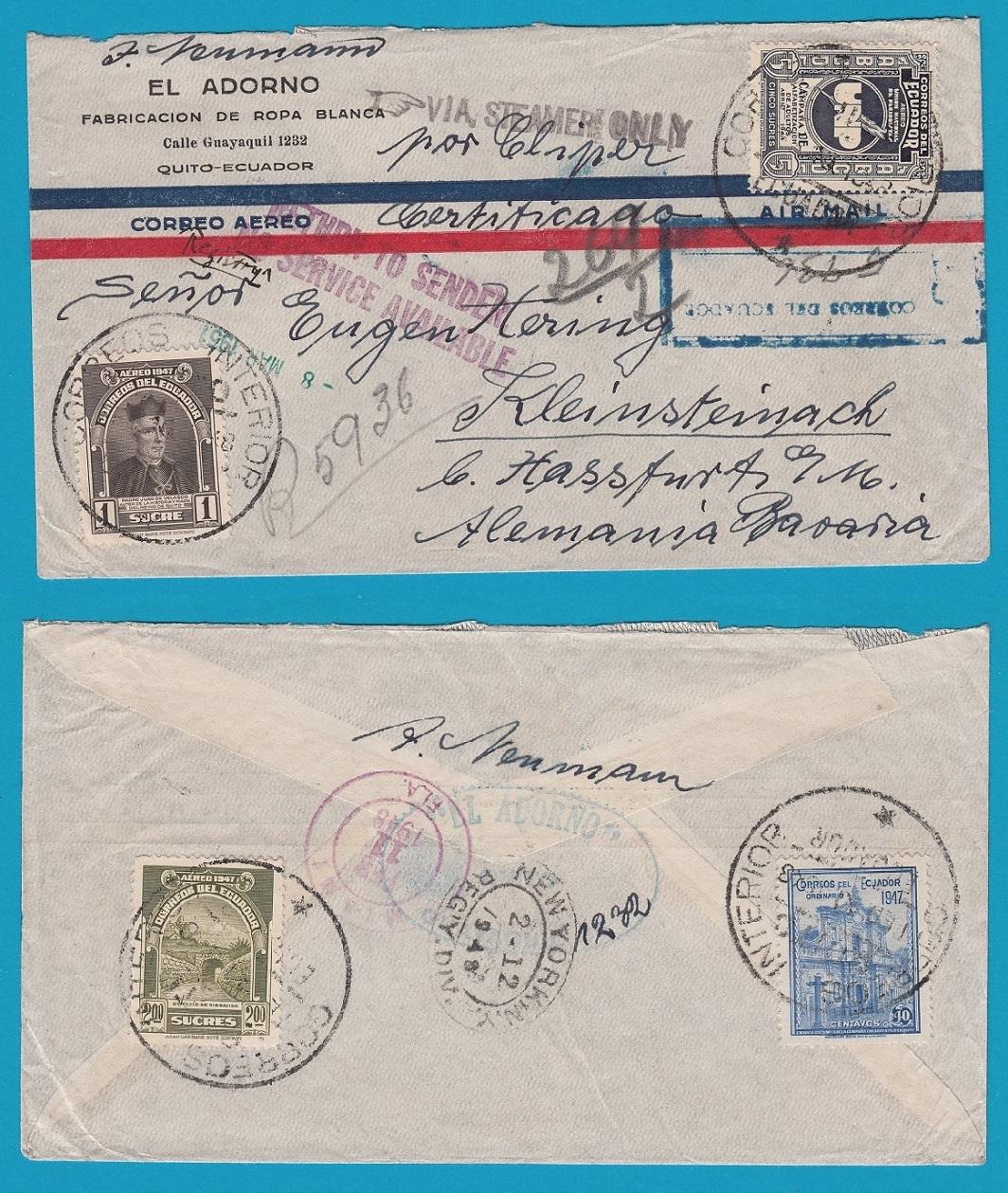 ECUADOR air cover 1948 Quito to Germany - Service suspended ECU017