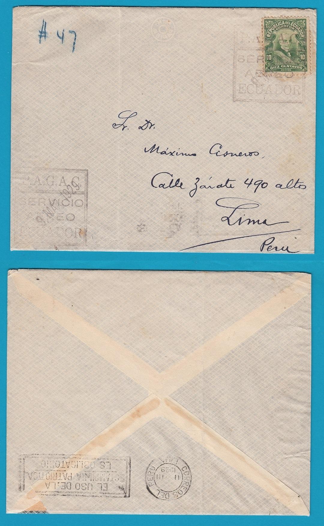 ECUADOR airmail cover PAGAC 1929 to Peru ECU021