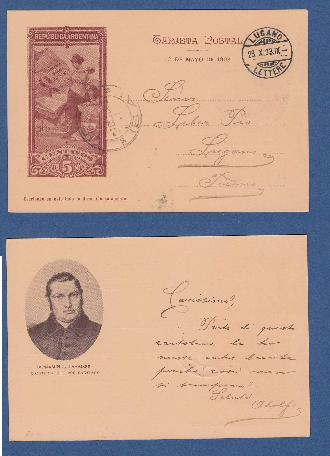 ARGENTINA ill postal card Lavaisse1903 Tigre to Switzerland ARG 037
