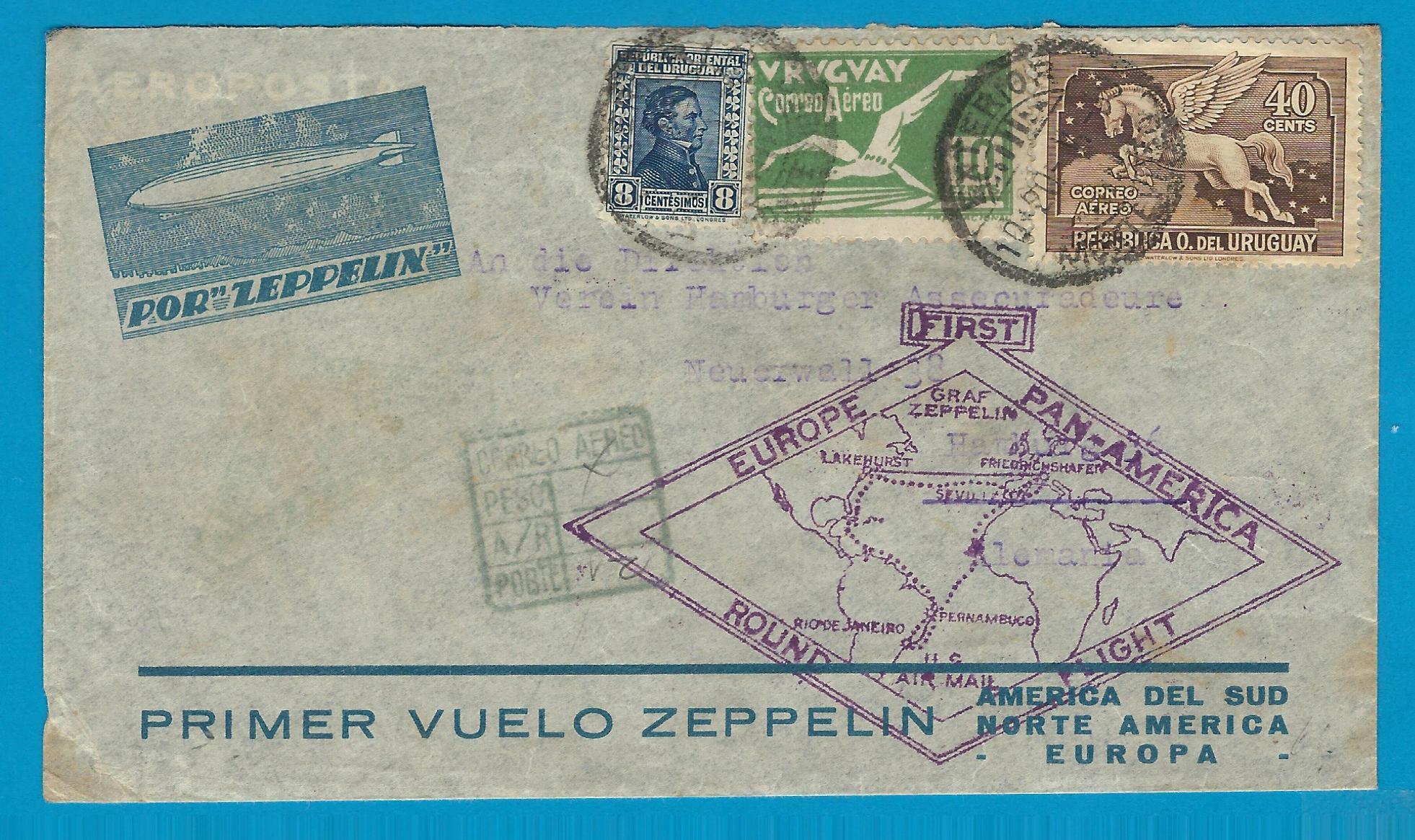 URUGUAY zeppelin cover 1930 Montevideo to Germany URU035