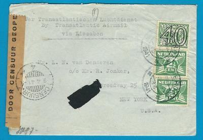 NEDERLAND censuur brief 1941 naar USA door naar Indië