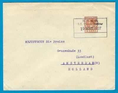 NEDERLAND brief 1937 S.S. Bolivar KNSM scheepsstempel