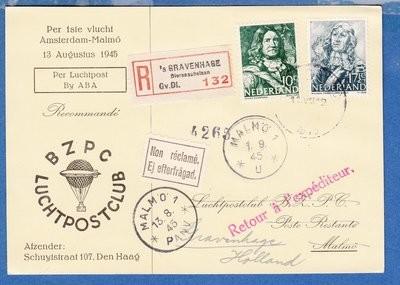 NEDERLAND R luchtpost kaart 1945 Den Haag 1e vlucht Malmö