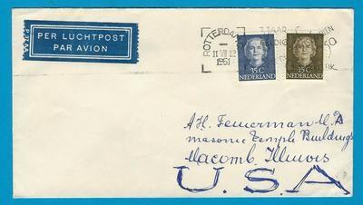 NEDERLAND luchtpost brief 1951 Rotterdam naar USA
