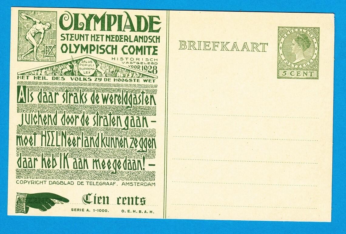 OLYMIADE 1928 briefkaart voor steun aan Olympisch Comite
