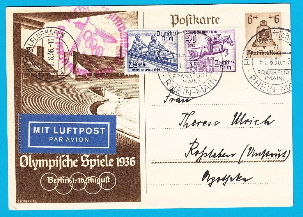 OLYMPIADE 1936 Duitland briefkaart Zeppelin Olympia fahrt
