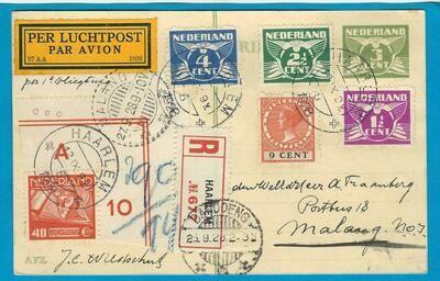 NEDERLAND 1e proefvlucht 1928 Haarlem R kaart naar Indië