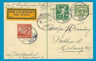 NEDERLAND briefkaart 1928 Haarlem per 2e proefvlucht naar Indië