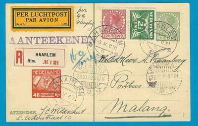NEDERLAND R-briefkaart 1928 Haarlem per 4e proefvlucht naar Indië