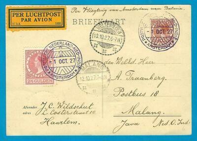 NEDERLAND Koppenvlucht 1927 Haarlem naar Indië