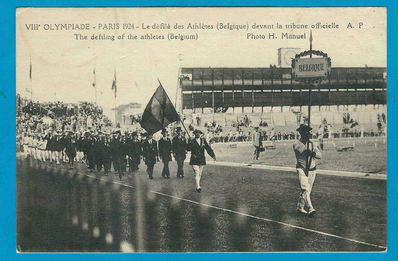 OLYMPIADE 1924 Parijs prentbriefkaart défilé Belgische delegatie