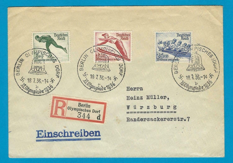 OLYMPIADE 1936 Berlijn R brief Olympisch dorp