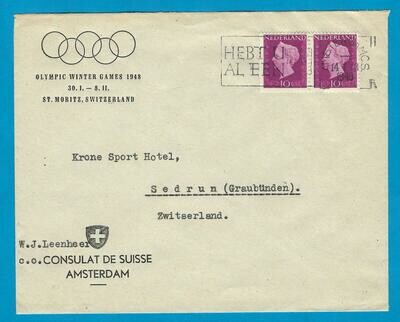 OLYMPIADE 1948 speciale envelop Zwitsers Consulaat