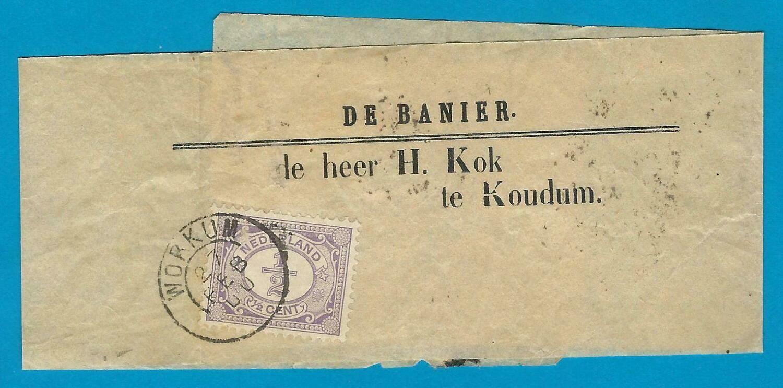 NEDERLAND krantenbandje De Banier 1900 Workum naar Koudum