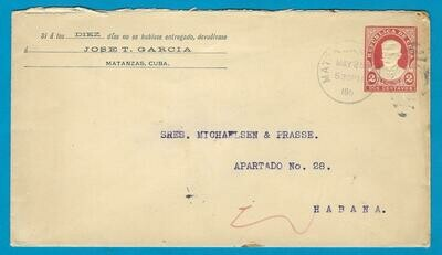 CUBA postal envelope 1911 Matanzas to Habana