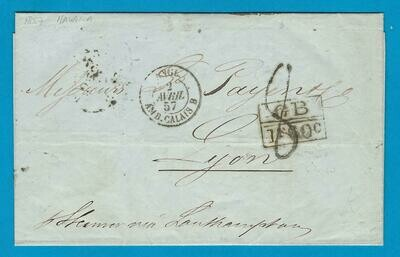 CUBA entire 1857 Habana to France