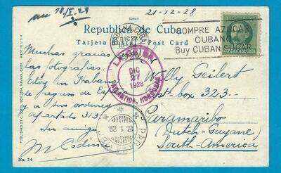 CUBA PPC 1928 with Habana Sugar slogan to Suriname