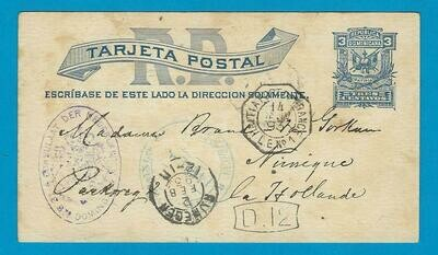 DOMINICAN REPUBLIC postal card 1893 Sta Domingo to Netherlands