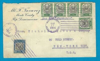 DOMINICAN REPUBLIC cover 1914 Monte Cristy to USA