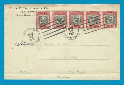 DOMINICAN REPUBLIC cover 1907 Barahona to USA