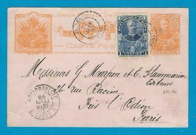 HAITI postal card 1899 Jacmel to France