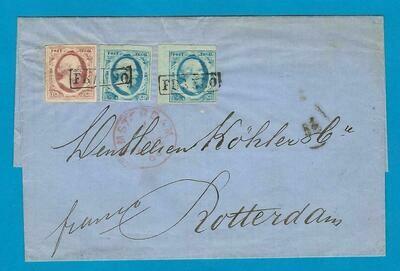 NEDERLAND brief 1864 Amsterdam #1 (2x), #2 naar Rotterdam