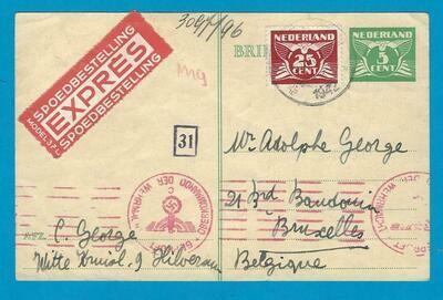 NEDERLAND expres briefkaart 1942 Hilversum naar België