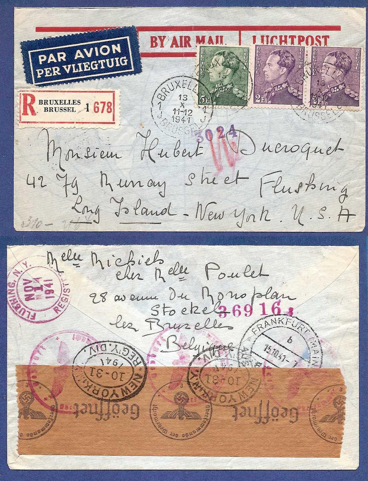 BELGIUM airmail cover 1941 to USA HE001