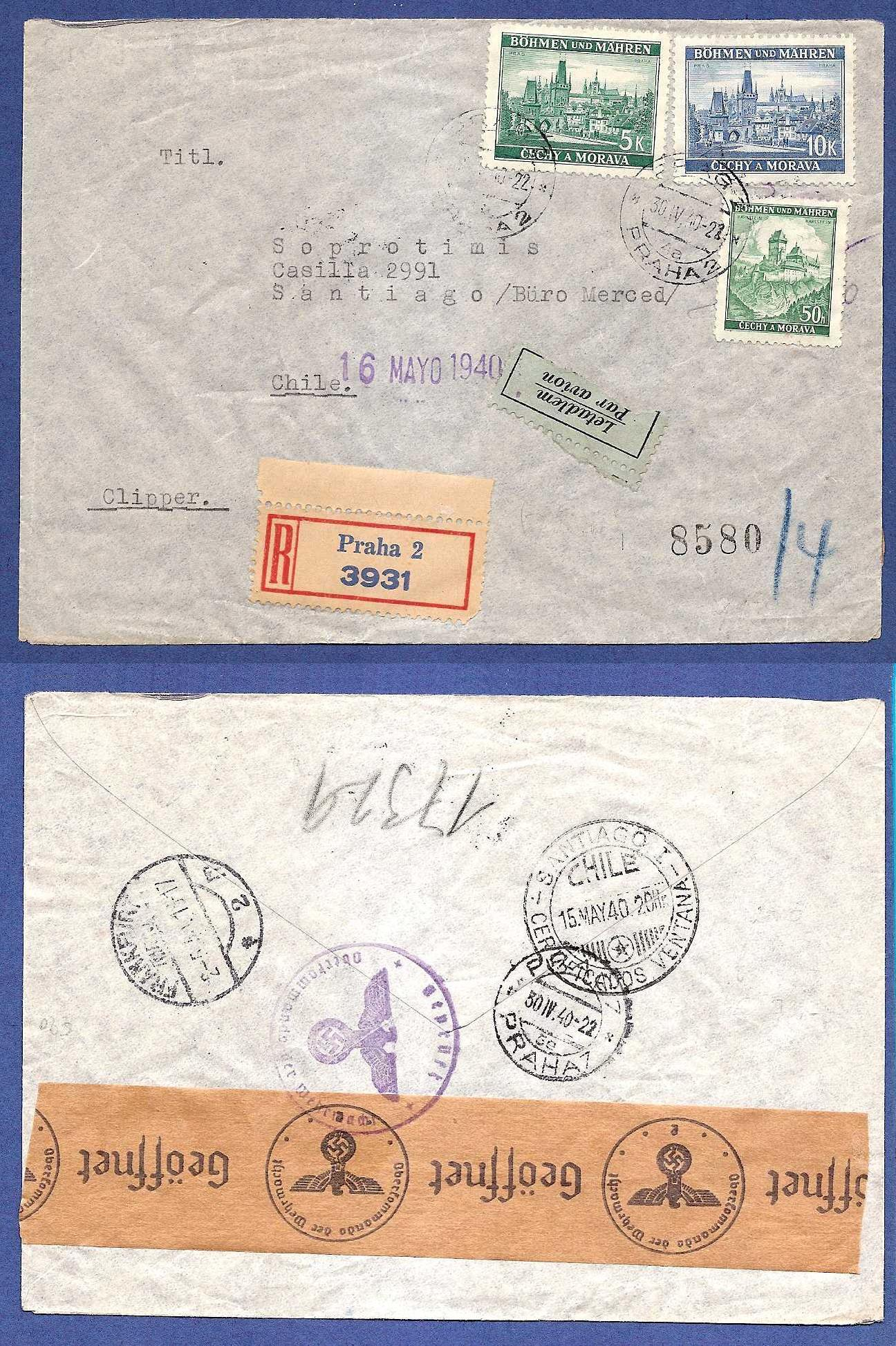 BOHEMEN MORAVIA R-airmail cover 1940 to Chile HE004