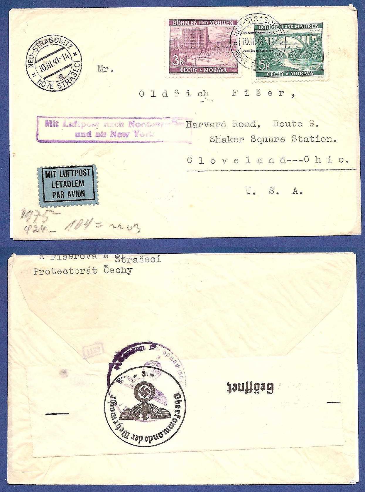 BOHEMEN MORAVIA airmail cover 1941 to USA HE005