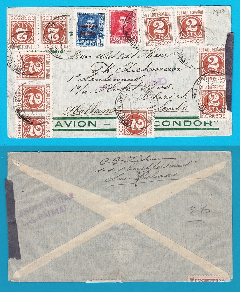 SPAIN censored airmail cover 1938 Las Palmas to Netherlands AI086