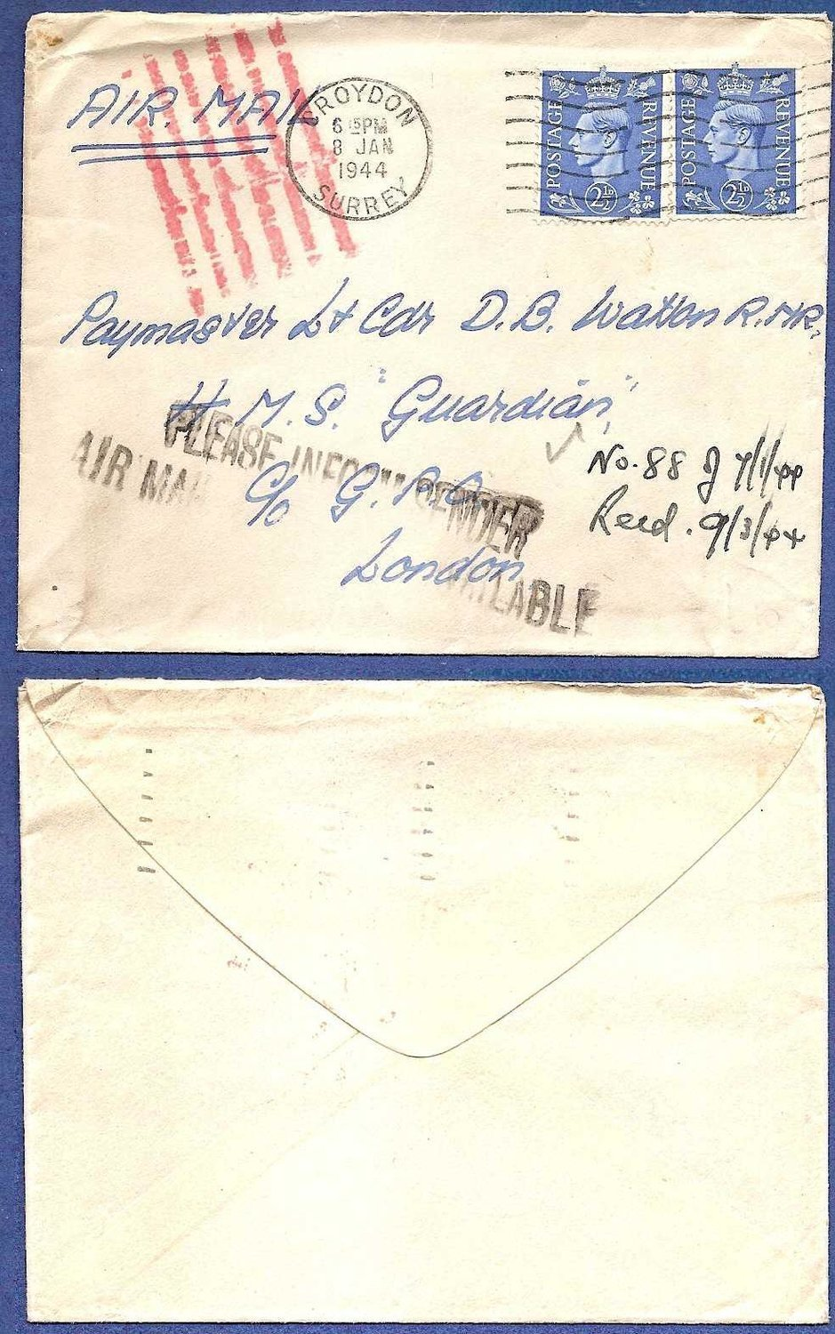 "ENGLAND cover 1944 Croyden ""airmail not available"""