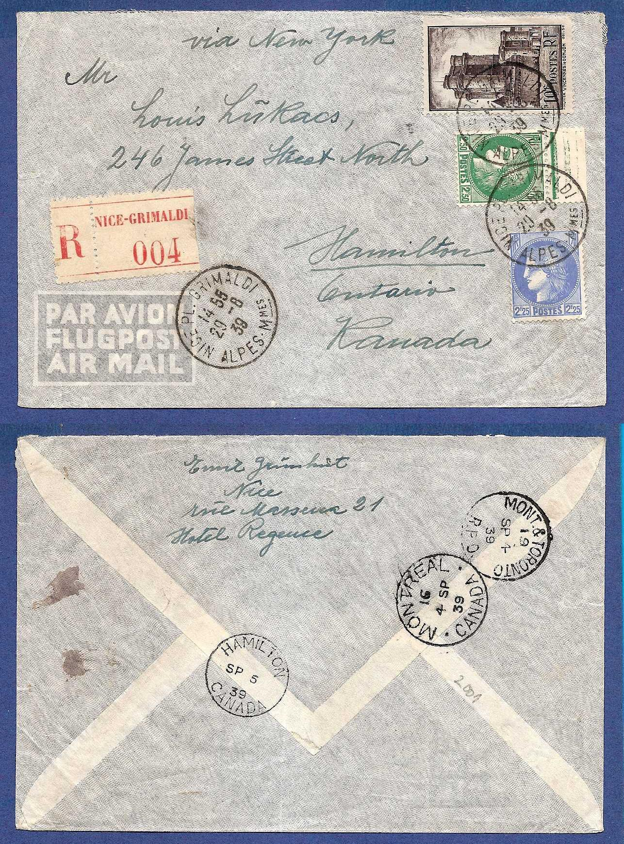 FRANCE R airmail cover 1939 Nice to Canada HE015