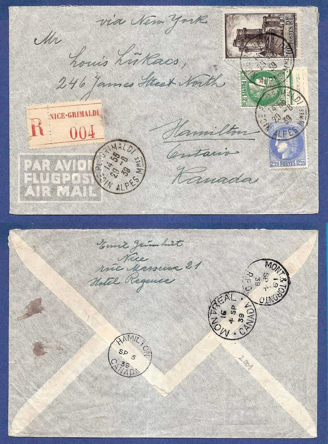 FRANCE R airmail cover 1939 Nice to Canada