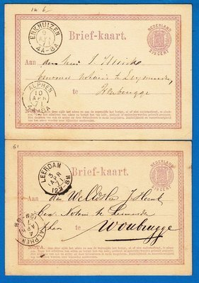 NEDERLAND 2 briefkaarten 1871 Leerdam en Enkhuizen naar Woubrugge