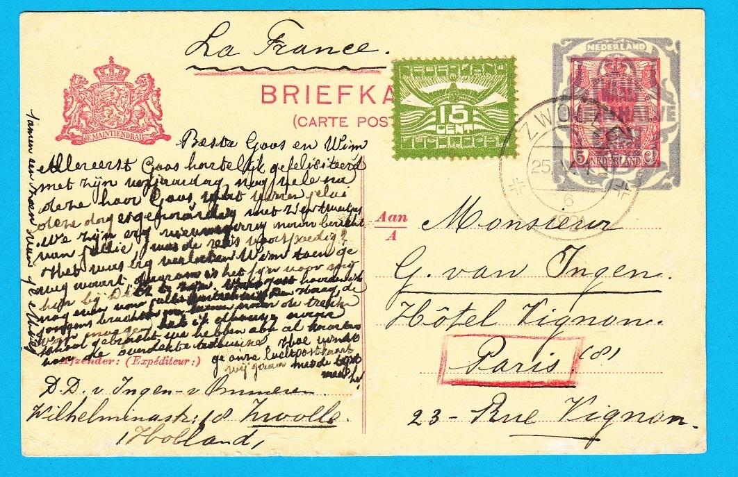 NEDERLAND briefkaart Zwolle 1921 per luchtpost naar Parijs NL3107