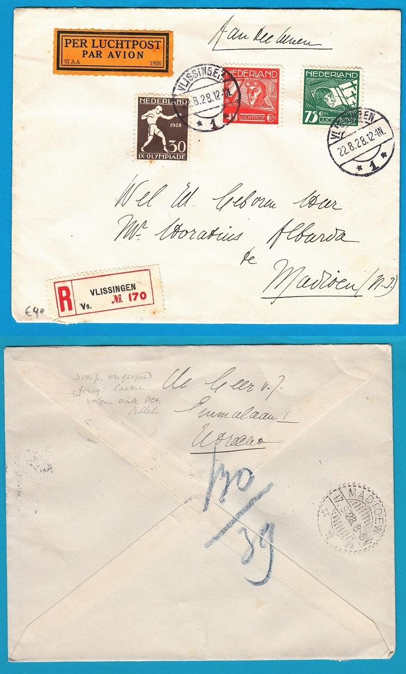 NEDERLAND R luchtpost brief 1928 Vlissingen naar Indië met Olympiade zegel NL4015