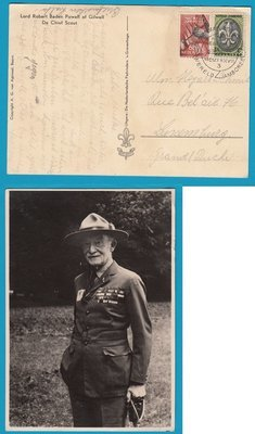 NEDERLAND Jamboree 1937 prentbriefkaart Baden Powell Vogelenzang naar Luxemburg