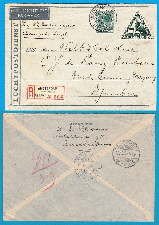 NEDERLAND R luchtpostbrief 1933 Amsterdam naar Djember per Zilvermeeuw