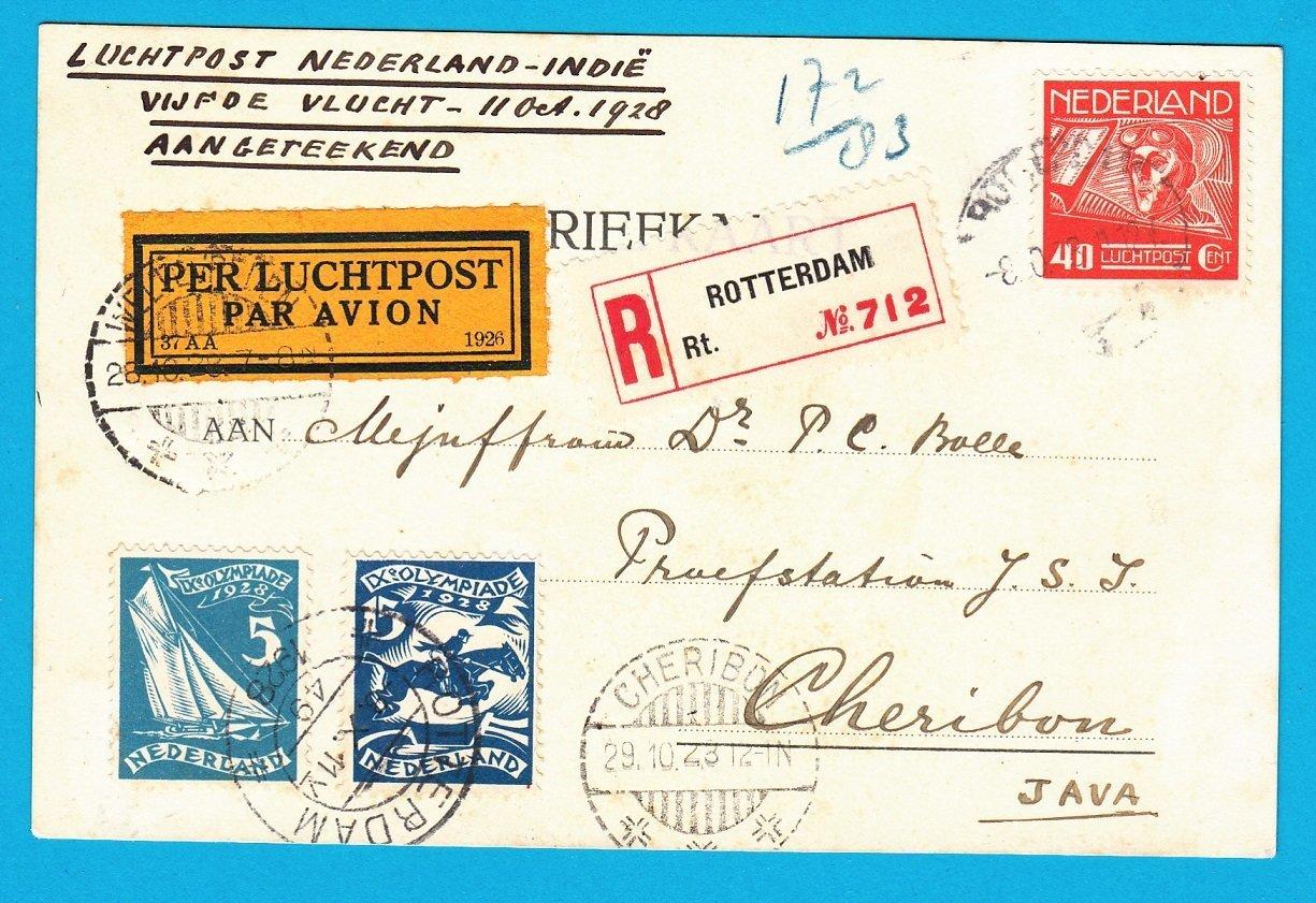 NEDERLAND R luchtpost kaart 1928 Rotterdam per 5e proefvlucht naar Cheribon