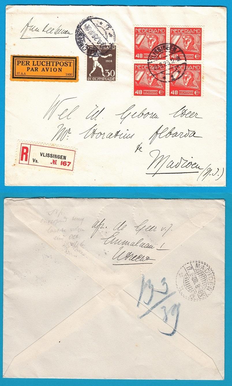 NEDERLAND R luchtpost brief 1928 Vlissingen naar Madioen NL4224