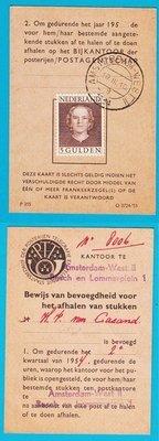 NEDERLAND postbuskaart 1954 Amsterdam met 5Gld En Face
